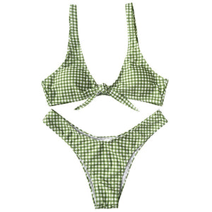 Trangel Sexy Padded Swimswear Grid Print High Cut Bikini Set Women Swimsuit Push Up Beach Wear Thong Biquini Maillot De Bain