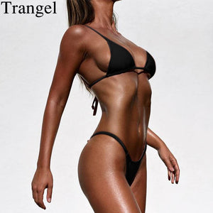 Trangel Swimsuit Summer 2018 Sexy Pure Color Bikini Set Bandage Swimsuit Brazilian Swimwear Thong Bikini Women Micro biquini