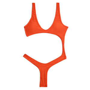 Trangel Cut Out Sexy One Piece Swimsuit Solid Bathing Suit Wear Swim Suit Women Swimwear Sport wear Monokini Female