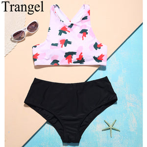 Trangel Print high neck bikini Swimwear women Swimsuit Padding high waist Bikini Set 2018 new arrival