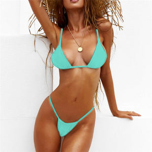 Trangel Micro Bikini Set Sexy Thong Swimwear Brazilian Swimsuit Women Beach Wear Solid Bathing Suit Bikinis De Las Mujeres
