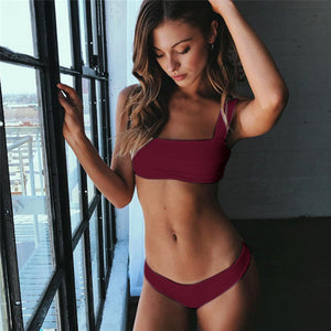 Trangel Summer Sexy Solid Bikini Female Bandeau Bikini Set Push Up Swimwear Swimsuit Beach Wear Bathing Suit Maillot De Bain