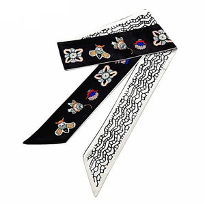 Honeybee Print Skinny Scarf Women Silk Bag Ribbons Fashion Head Scarf Long Scarves Wraps Female Foulard For Ladies