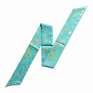 Key Design Skinny Women Bag Silk Skinny Scarves Multi-function Head Scarf
