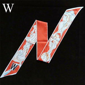 26 Letters Scarf Women Silk Scarf Bag Skinny Constellation Scarf Print Fashion Head Scarf Brand Small Tie