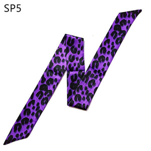 Leopard Snake Skin Print Bag Skinny Silk Scarf For Women Luxury Brand Foulard Women Tie Fashion Head Scarves For Ladies