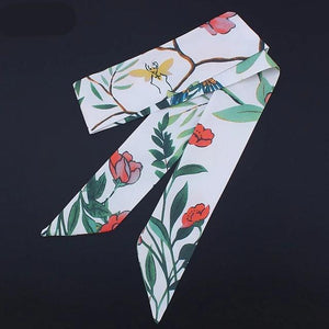 New Design Silk Skinny Scarf Floral Print Fashion Head Scarf Handle Bag Ribbons Small Long Scarves
