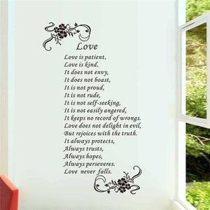 Love Is Patient Love Is Kind Love Never Falls Christ Bible Quotes Wall Art  Stickers Bedroom