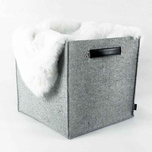 Lavievert Felt Storage Box with Genuine Leather Handle