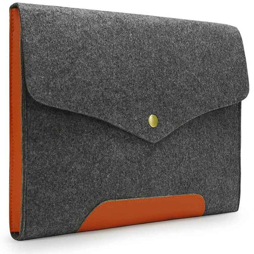 Lavievert Gray Felt Magnetic Button Sleeve Bag for 15