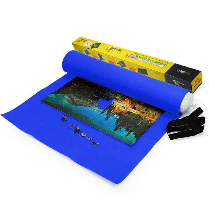 Lavievert Giant Blue Felt Puzzle Roll Mat for 3000-piece Jigsaw