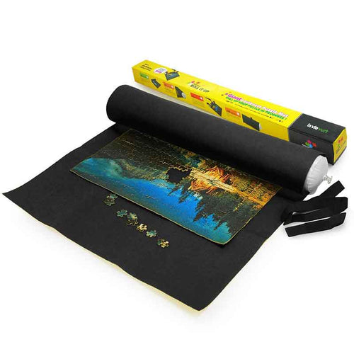 Lavievert Giant Black Felt Puzzle Roll Mat for 3000-piece Jigsaw