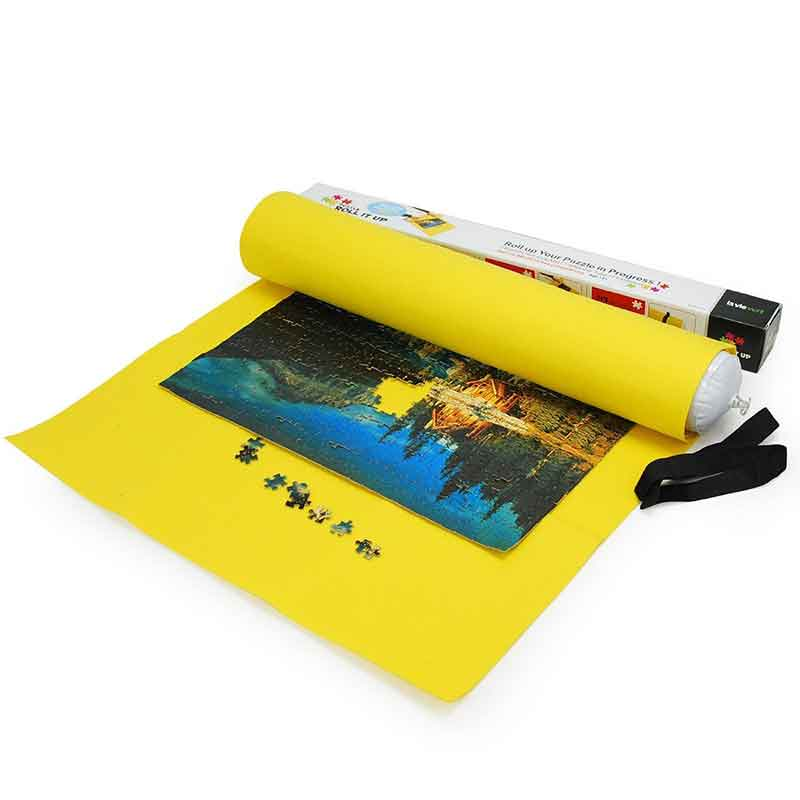 Lavievert Yellow Felt Puzzle Roll Mat for 1500-piece Box Package