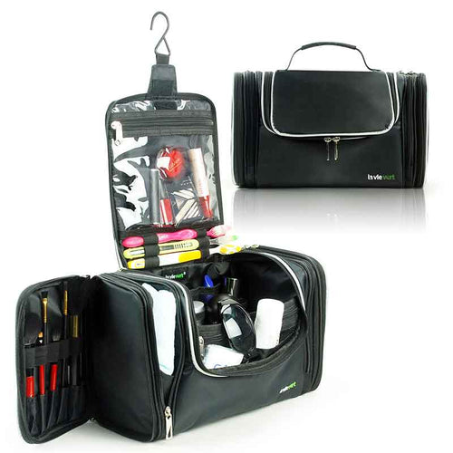 Lavievert Black Toiletry Bag Makeup Organizer with Hanging