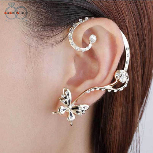 SUSENSTONE New Fashion Crystal Beauty Women Butterfly Cuff Ear Clip