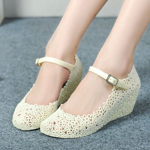 New Arrival! New Lady Soft Jelly Rubber Floral Mary Jane Round Toe Wedge Heel Sandal Shoes Woman WS019