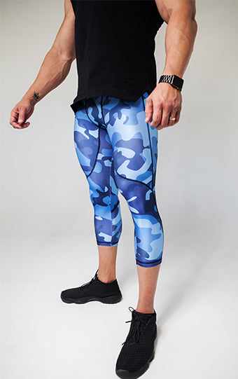 Kheper Male Pro Fit Tights - Camo Blue