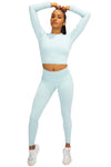 Ribbed Seamless Crop - Artic Blue