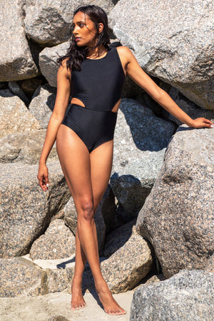Women's One-Piece Swimsuit Black Kheper