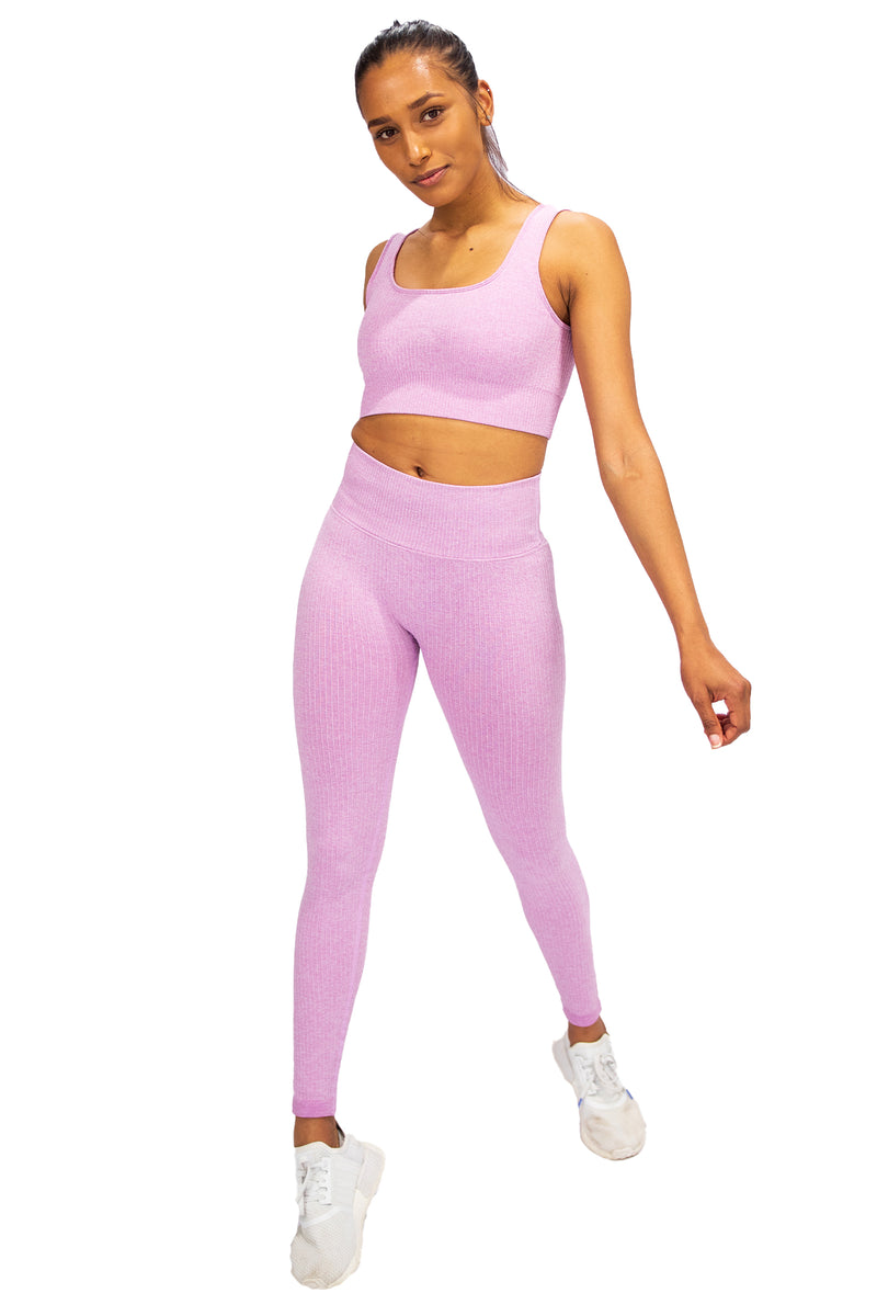 Ribbed Seamless Leggings - Cotton Candy