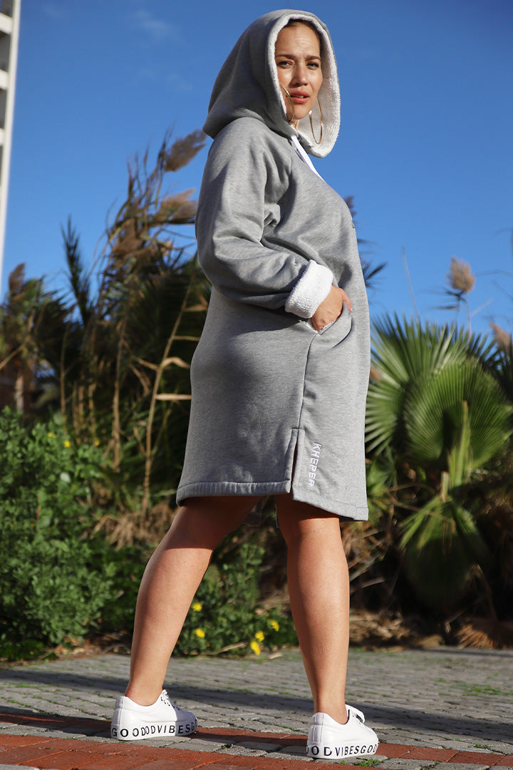 Fluffy Hoodie Dress Ladies Grey Kheper