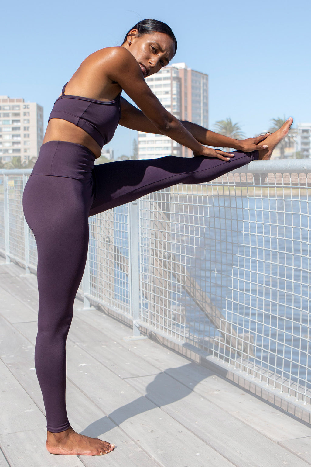 Kheper V Pop High Waisted Gym Tights - Purple