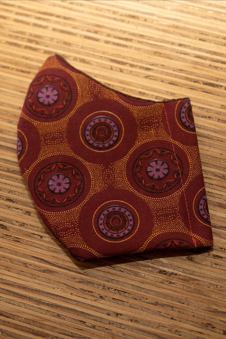 Face Mask Cotton Reusable Washable 100% Cotton Maroon/Brown Shweshwe