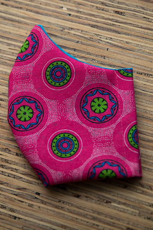 Face Mask Cotton Reusable Washable 100% Cotton Pink Shweshwe