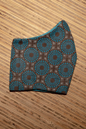 Blue - Brown Shweshwe Face Mask