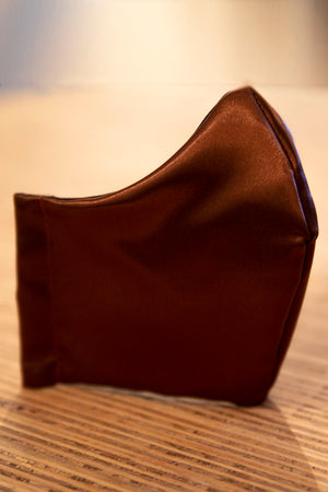 Face Mask 100% Cotton Reusable 4 Layers Satin Copper Brown
