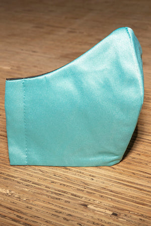 Face Mask 100% Cotton 4 Layer Satin Aqua Green