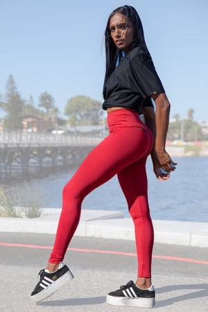 Kheper V POP High Waisted Gym Tights - Raspberry