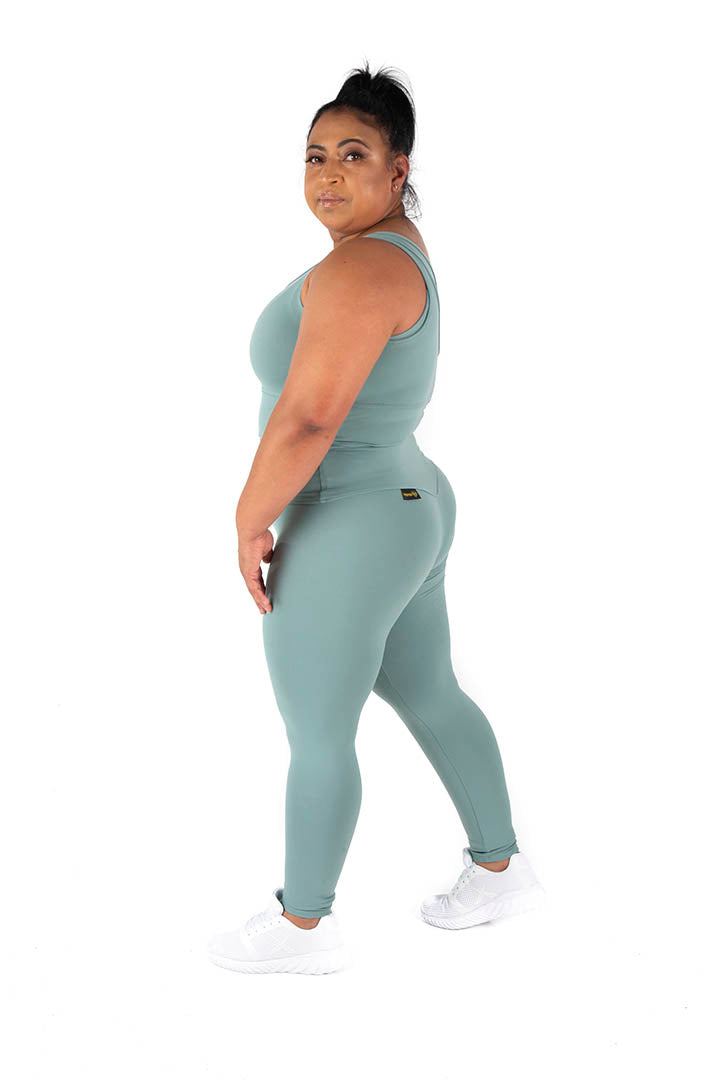 Kheper V Pop High Waisted Gym Tights - Sage