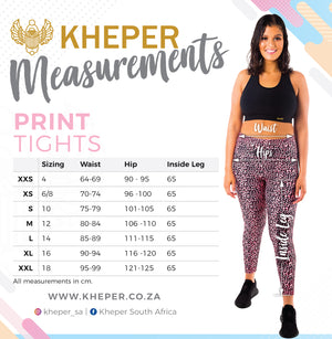 Kheper Print High Waist Gym Tights - Tenacious Size Guide