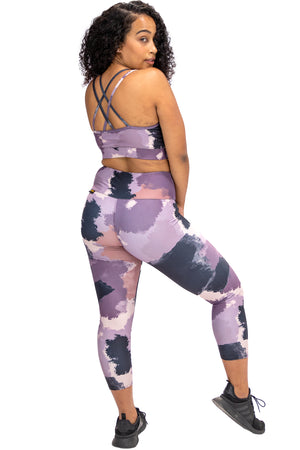 3/4 Abstract Print Gym Tights