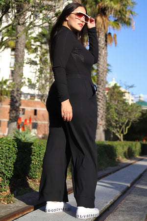 Ribbed Culotte Pants - Black