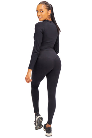 Ribbed Seamless Crop - Black