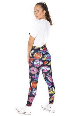 Kids tights pop art foodie black