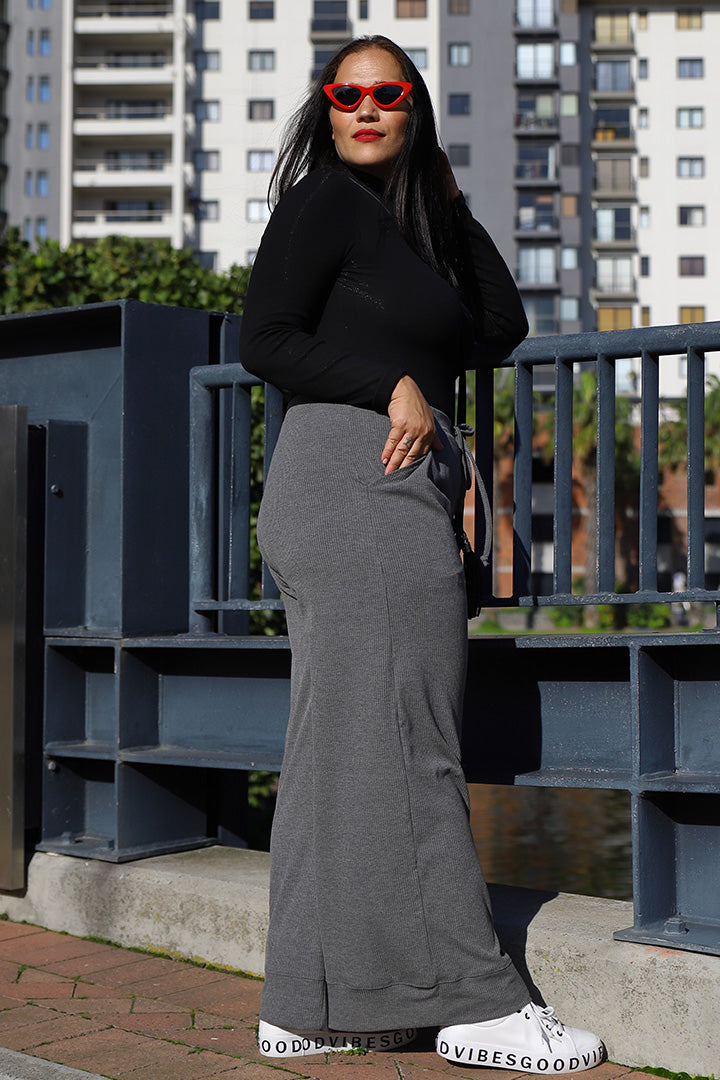 Ribbed Lounge Culotte Pants - Grey | Kheper