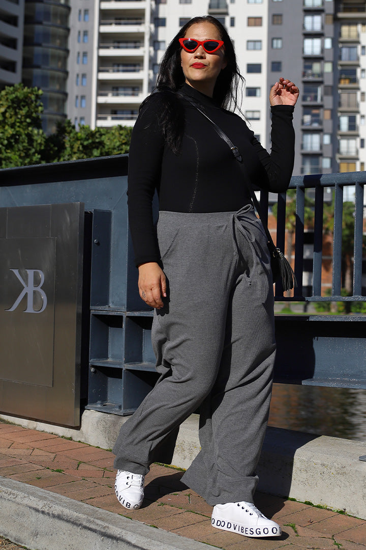 Ribbed Lounge Culotte Pants - Grey
