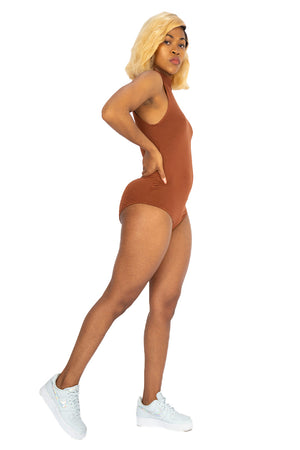 womans shoulder up bodysuit cinnamon