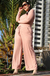 Ribbed Culotte Pants - Peach