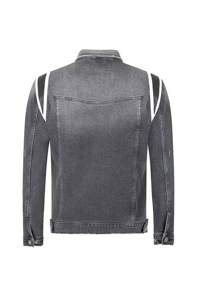 DENIM LEATHER PANEL JACKET