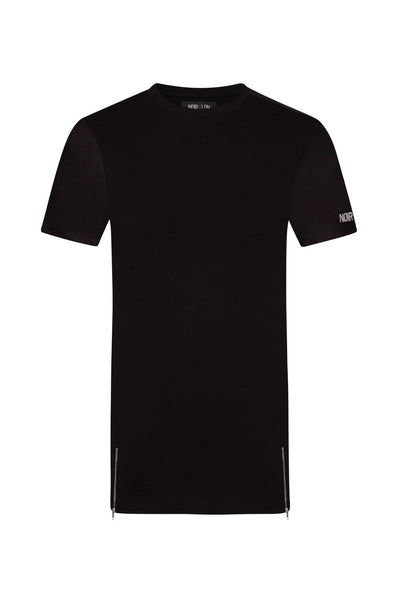 BLACK SUEDE ZIP T-SHIRT - NOIR | LDN