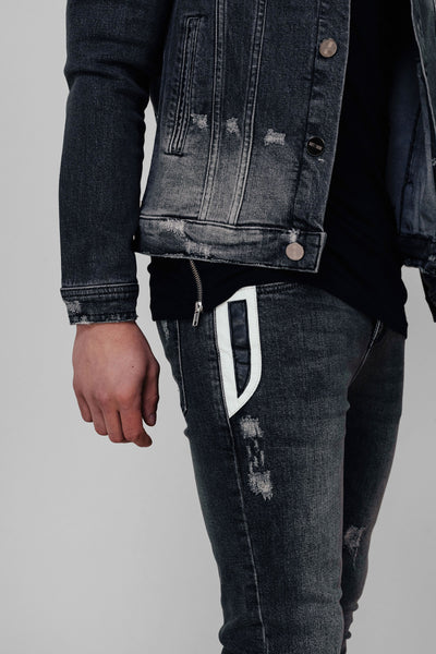 DENIM LEATHER PANEL JEANS
