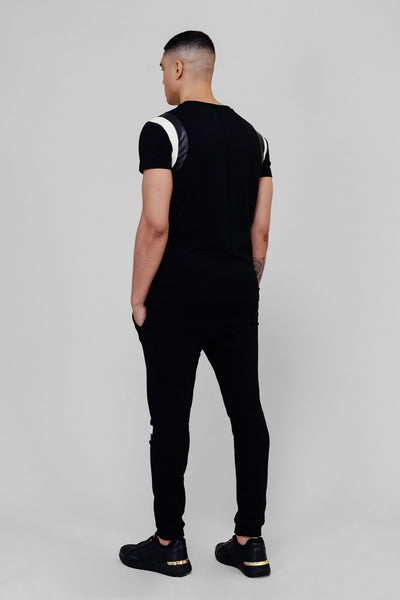 BLACK/LEATHER PANEL T-SHIRT
