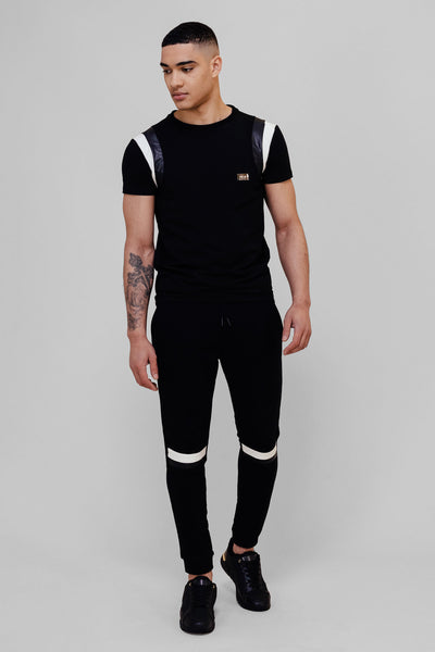 Black Leather Panel Jogger