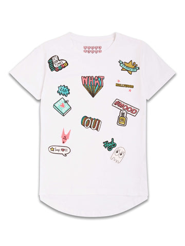Girls White Fashion T-Shirt with Funky Details