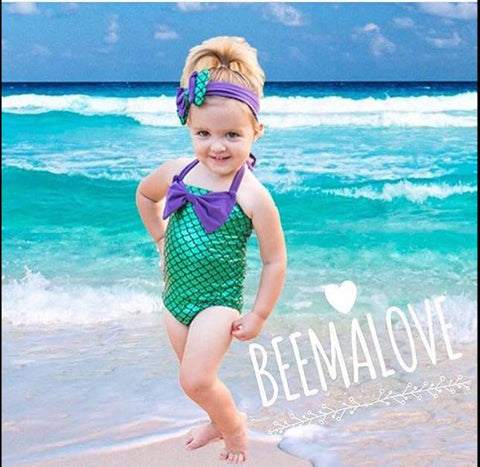 Mermaid Swimming Costume with Headband