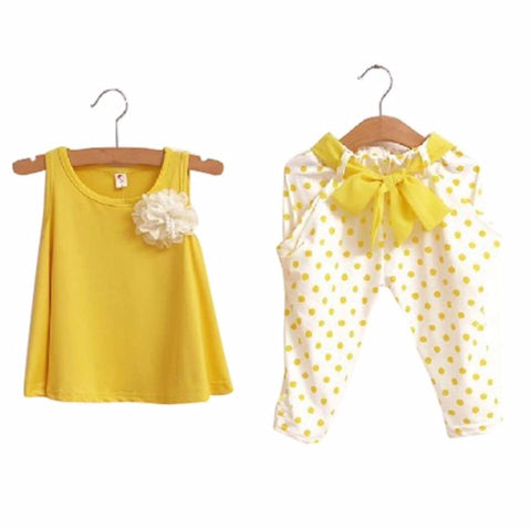Twin Piece Flower, Polka Dot Set - YELLOW
